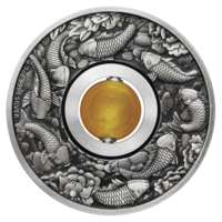 "Тувалу 1 доллар 2018г. Талисман.""Вращающаяся монета: На удачу. Карпы и топаз"". Монет в подарочном футляре; номерной сертификат; коробка. СЕРЕБРО 31,135гр.(1 oz)."
