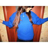 Свитер вязаный -модно-синего цвета р.50-52