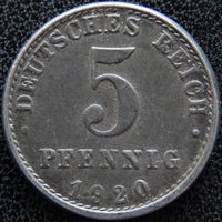 YS: Германия, 5 пфеннигов 1920A, KM# 19 (1)