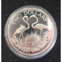 Багамские острова , 1976, 2 доллара , серебро, пруф
