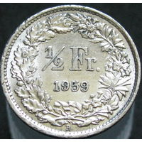 Швеция 1/2 франка 1959 серебро