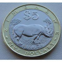 Зимбабве. 5 долларов 2002 год  KM#13