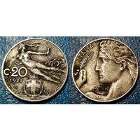 W: Италия 20 чентезимо 1921, МАГНИТ (530)