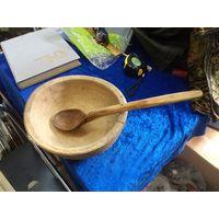 Ложка с миской деревянные для интерьера.