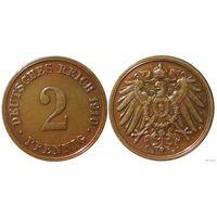 YS: Германия, Рейх, 2 пфеннига 1910D, KM# 16 (2)