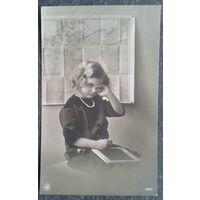"""Фотооткрытка """"Девочка"""". Германия 1914(?) г. Чистая."""