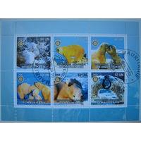 Марки Мавритания 2002 г. Фауна. Слоны. Белые медведи. Цена за блок (g)
