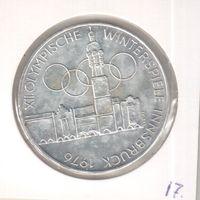 Серебро. 100 шиллингов 1976 года Австрии XII зимние Олимпийские Игры, Инсбрук 1976 в холдере 26
