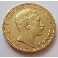 Германия, Пруссия, 20 марок, 1889, золото