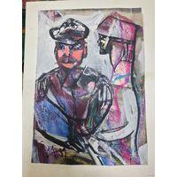 """Вл. Акулов """"Офицеры"""". Бумага, акрил. По рисунку 22х18. 2009 год."""