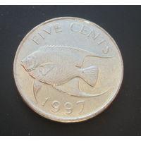 Бермудские острова 5 центов 1997г. Средний портрет.