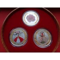 """Полный комплект монет """"Болгарские символы и традиции""""! Тираж ВСЕГО 3,000! Цена продажи на Монетном дворе 296,35$ ВЕЛИКОЛЕПНЫЙ ПОДАРОК! Серебро 999 пробы! ВОЗМОЖЕН ОБМЕН!"""