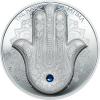 "Палау 10 долларов 2016г. ""Хамса. Рука Фатимы"". SWAROVSKI. Монета в капсуле; шикарном подарочном футляре; сертификат; коробка. СЕРЕБРО 62,20гр.(2 oz)."
