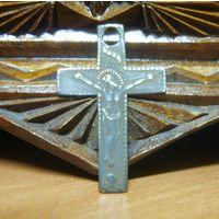 Крестик старинный католический, бронза