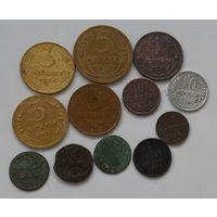 Полушка 1851 г.+ 11 монеток.