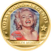"Острова Кука 1 доллар 2013г. ""Легенды Голливуда: Мэрилин Монро"".  Монета в капсуле; сертификат. ЗОЛОТО 0,5гр."