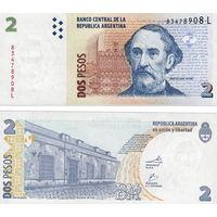 Аргентина  2 песо  1997 - 2002 г.г.  UNC