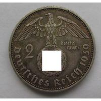 1939 г. 2 марки. A. Германия. Рейх. Серебро. #6