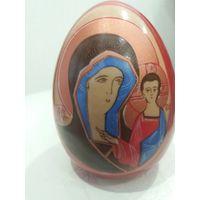 Пасхальное старинное яйцо фарфор икона Казанзкая Божья матерь