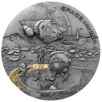 """Ниуэ 1 доллар 2019г. """"Добыча полезных ископаемых в космосе II"""". Монета в капсуле; деревянном подарочном футляре; сертификат; коробка. СЕРЕБРО 31,135гр.(1 oz)."""