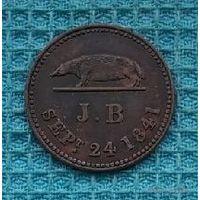 Саравак (Малайзия) 1 кепинг 1841 года. Редкая!