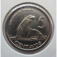 """Галапагосские острова 5 сентаво 2008 """"Галапагосский морской лев, герб"""""""