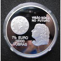 Сан-Томе и Принсипи 7,5 евро-15.000 добра 1997 - Швейцария - видение будущего - редкая, пруф!