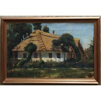 """Милый домик""; Европа,XIX век;х/м;45/67 см с рамой"