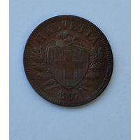 Швейцария 2 раппена, 1907 7-5-45