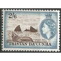 Тристан да Кунья. Королева Елизавета II. Морской слон. 1959г. Mi#25.