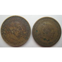 Испания 1 песета 1953 (60), 1966 (69) гг. Цена за 1 шт. (g)