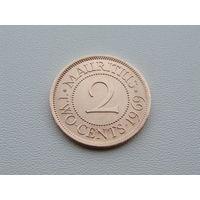 Маврикий.  2 цента 1969 год KM#32