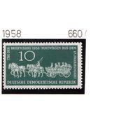 Германия(ГДР)-1958,(Мих.660) ** , Лошади