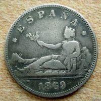 Испания. 2 песеты 1869 г