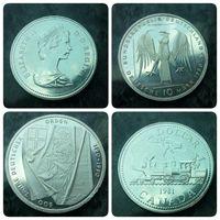 Две монеты. Серебро. Канада, Германия.