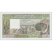 Восточно-африканские штаты Того (буква Т) 500 франков 1987 года. Тип P 806Tj. Состояние UNC! Редкая!