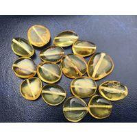 Натуральный янтарь-полированный камень для ювелирного изделия-сверленый 15 шт-цвет Лимон-10 гр