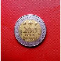 85-29 Западная Африка (BCEAO), 200 франков 2005 г. Единственное предложение монеты данного года на АУ