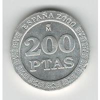 Испания 200 песет 2000 года. Серебро 925 проба. Штемпельный блеск! Состояние аUNC! Редкая!