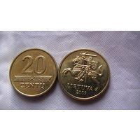 Литва 20 центов 2009 г.  блеск. распродажа