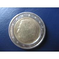 """2 евро Бельгия 2007 маленький чеканный брак внешнего кольца (нет левой ножки буквы А и частично """"сбит"""" год 2007"""