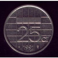 25 центов 1991 год Нидерланды