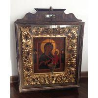 Тихвинская икона божьей матери 19 век Ветка в киоте золотом