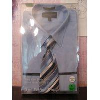 Рубашка Giorcio Brutini с галстуком Новая Купила папе и не угадала с размером РL 32-33, наш р горло 43 где-то На самом деле размер большой, минимум 54
