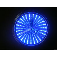 LED логотип автомобиля Mercedes-benz(9.5cm) 3D.Цвет синий.