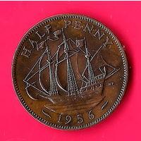 11-14 Великобритания 1/2 пенни 1956г. Единственное предложение монеты этого года на АУ