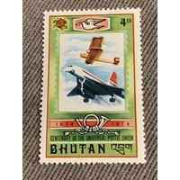 Бутан 1974. Авиация. 100 летие Всемирного почтового союза.