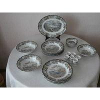 Сервиз столовый Heritage 6 персон 30 предметов фарфор (ручная роспись сцен из жизни Канады 1842) производство Ridgway of Staffordshire England Англия.