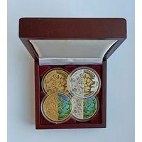 Футляр для 4 монет 20 рублей Ag d=45.00 mm деревянный