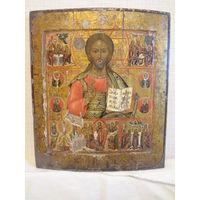 Деисус из трех икон, с праздниками и избранными святыми. Супер.